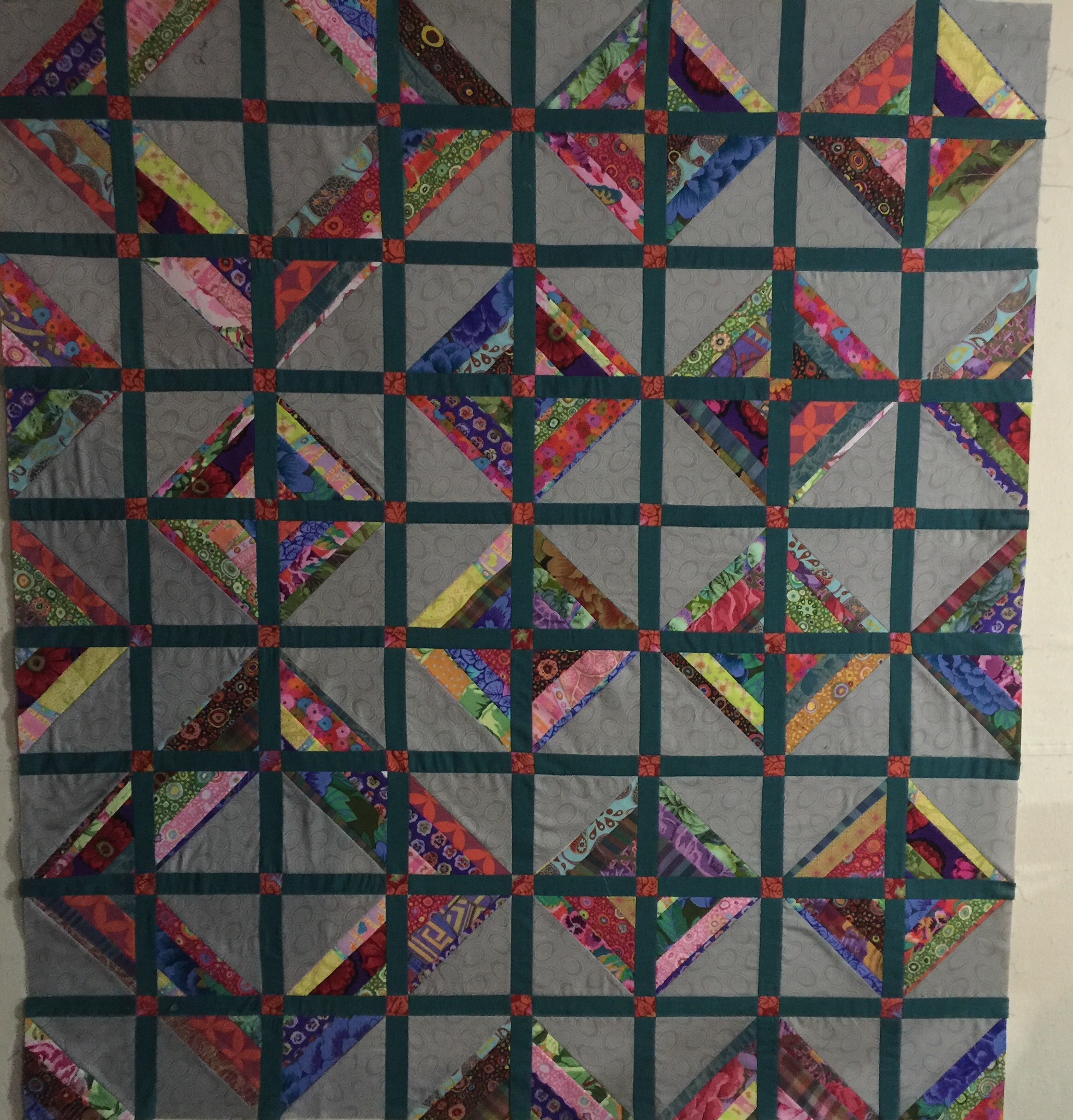 Design wall 101716 string blocks Always Quilts